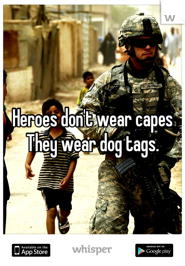 Heroes don't wear capes They wear dog tags.