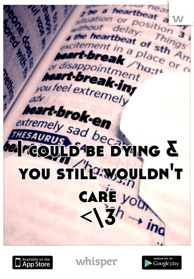 I could be dying &  you still wouldn't care  <\3