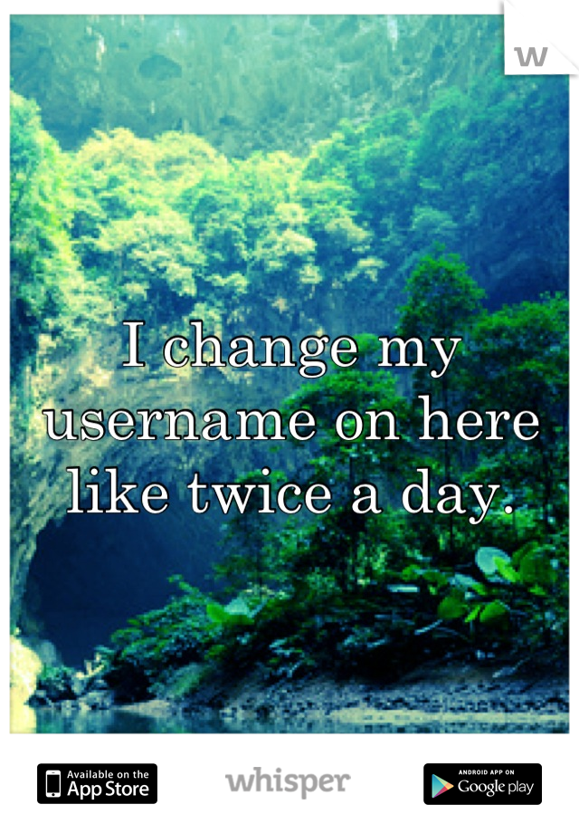 I change my username on here like twice a day.