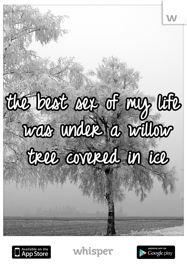 the best sex of my life was under a willow tree covered in ice