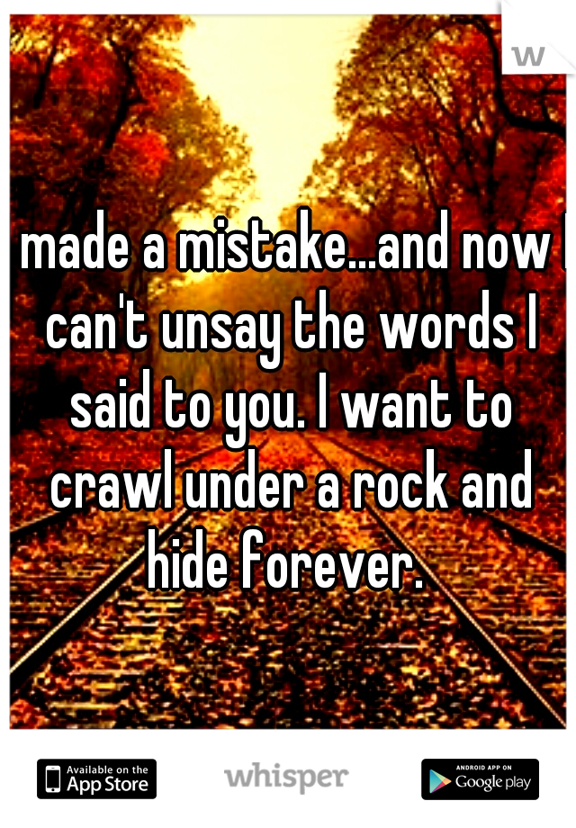 I made a mistake...and now I can't unsay the words I said to you. I want to crawl under a rock and hide forever.