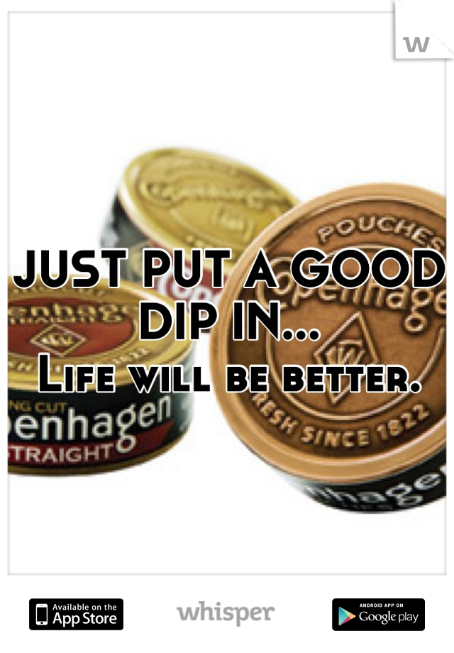 JUST PUT A GOOD DIP IN...  Life will be better.