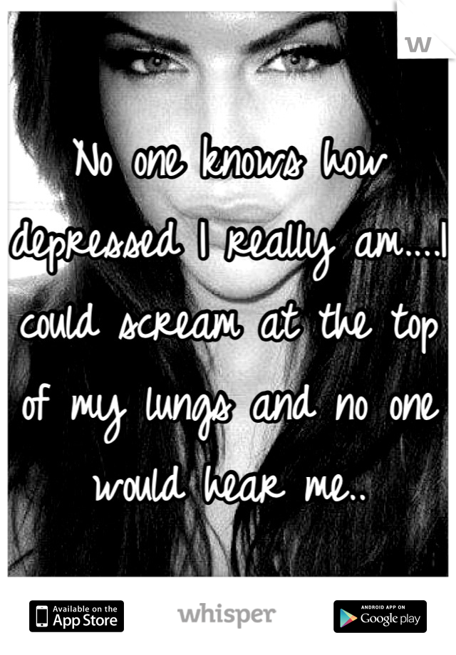 No one knows how depressed I really am....I could scream at the top of my lungs and no one would hear me..