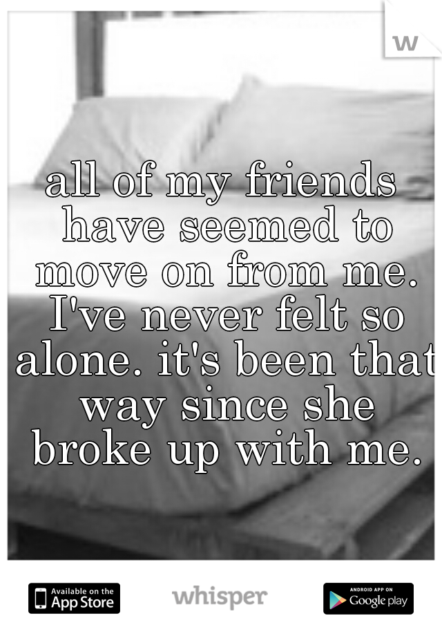 all of my friends have seemed to move on from me. I've never felt so alone. it's been that way since she broke up with me.
