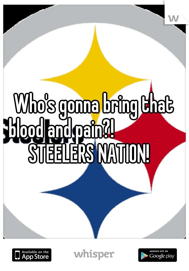 Who's gonna bring that blood and pain?!                STEELERS NATION!