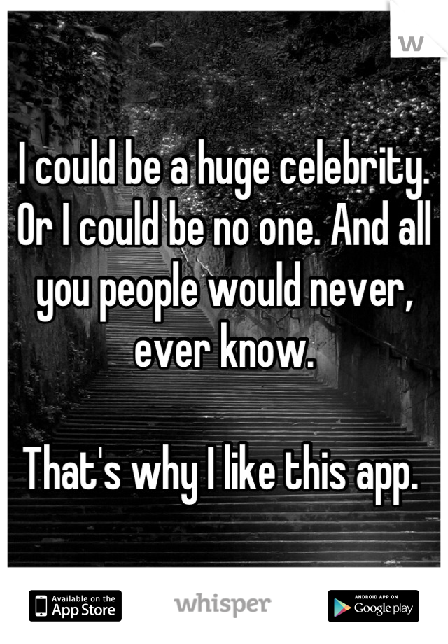 I could be a huge celebrity. Or I could be no one. And all you people would never, ever know.   That's why I like this app.