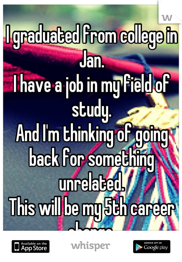 I graduated from college in Jan. I have a job in my field of study.  And I'm thinking of going back for something unrelated.  This will be my 5th career change.