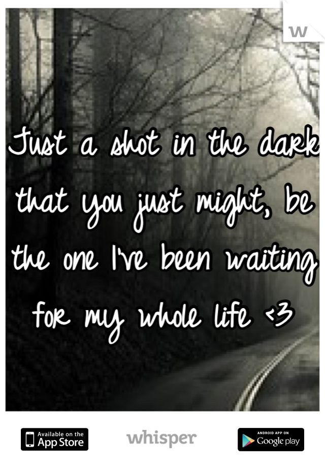 Just a shot in the dark that you just might, be the one I've been waiting for my whole life <3