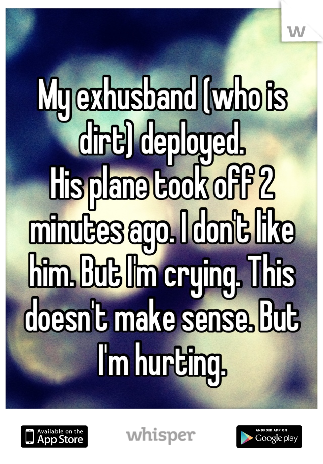 My exhusband (who is  dirt) deployed.  His plane took off 2 minutes ago. I don't like  him. But I'm crying. This doesn't make sense. But  I'm hurting.