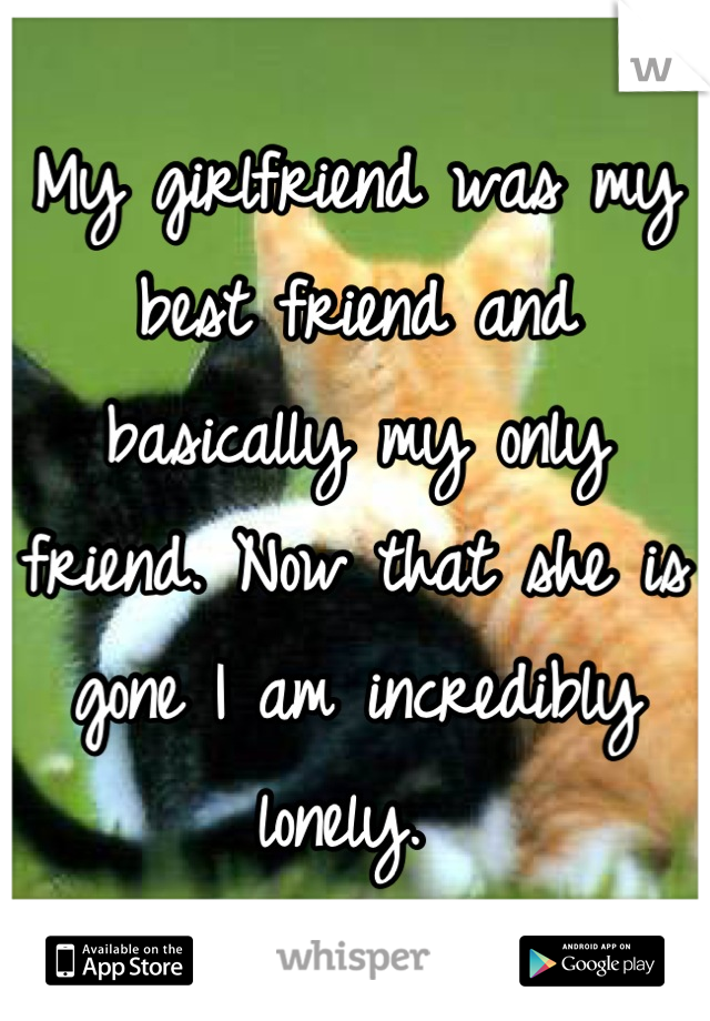 My girlfriend was my best friend and basically my only friend. Now that she is gone I am incredibly lonely.