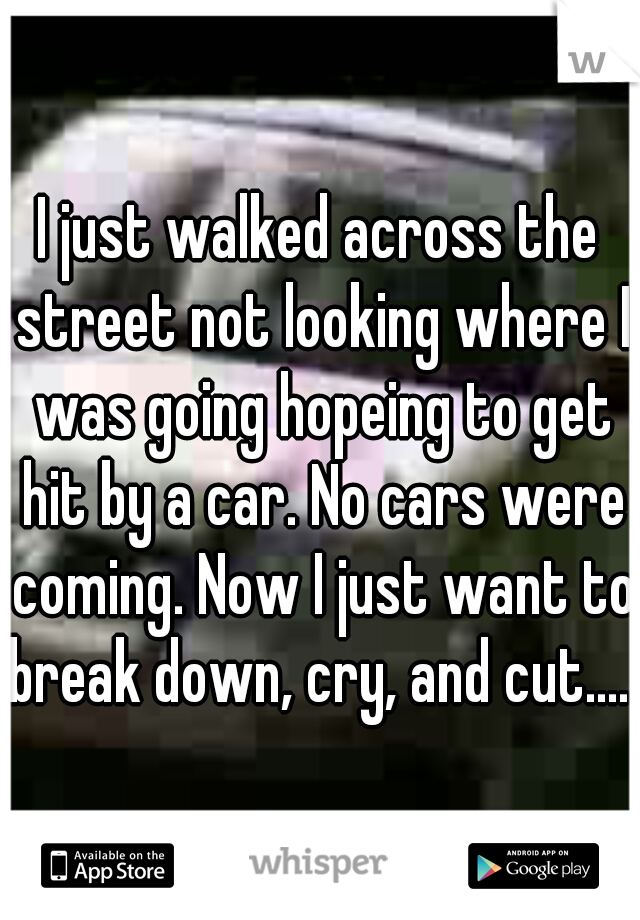 I just walked across the street not looking where I was going hopeing to get hit by a car. No cars were coming. Now I just want to break down, cry, and cut.....