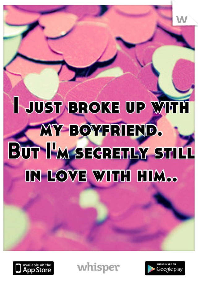 I just broke up with my boyfriend.  But I'm secretly still in love with him..