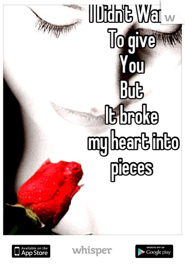 I Didn't Want  To give You  But  It broke  my heart into  pieces