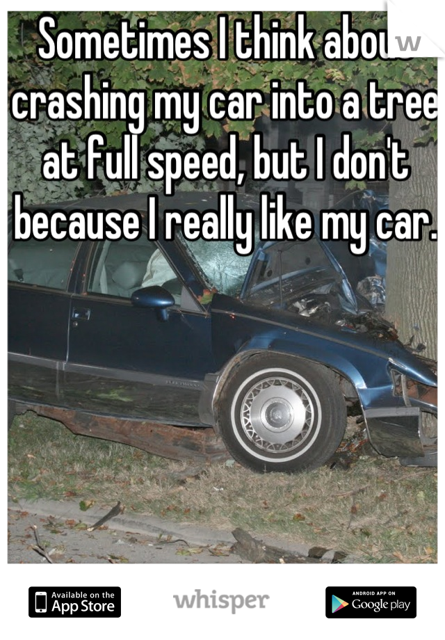 Sometimes I think about crashing my car into a tree at full speed, but I don't because I really like my car.