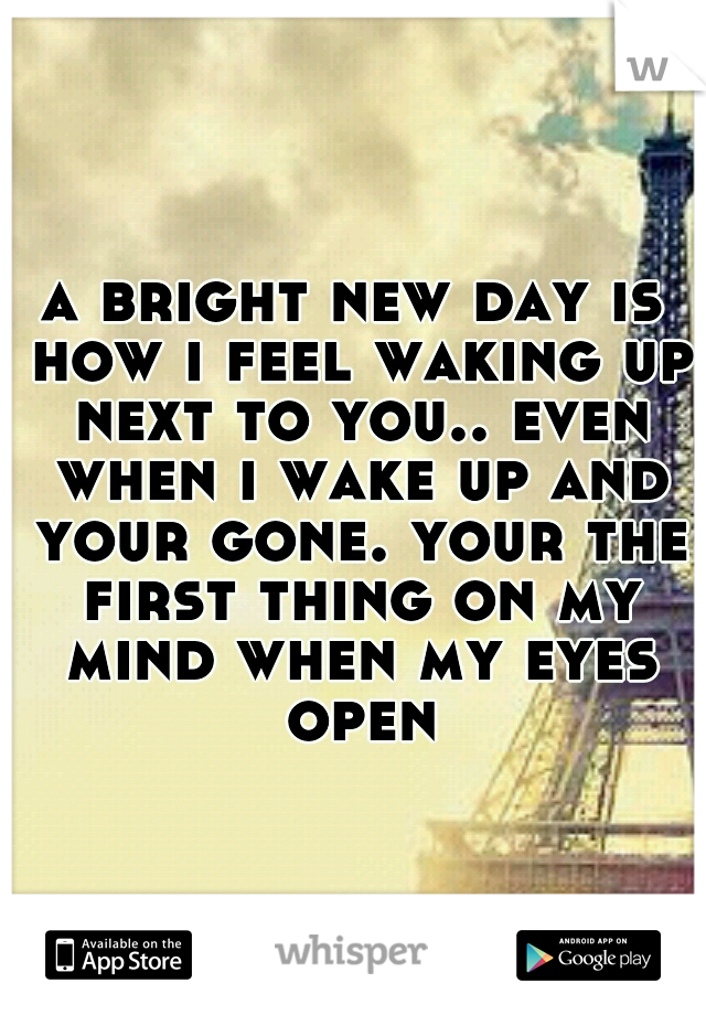 a bright new day is how i feel waking up next to you.. even when i wake up and your gone. your the first thing on my mind when my eyes open