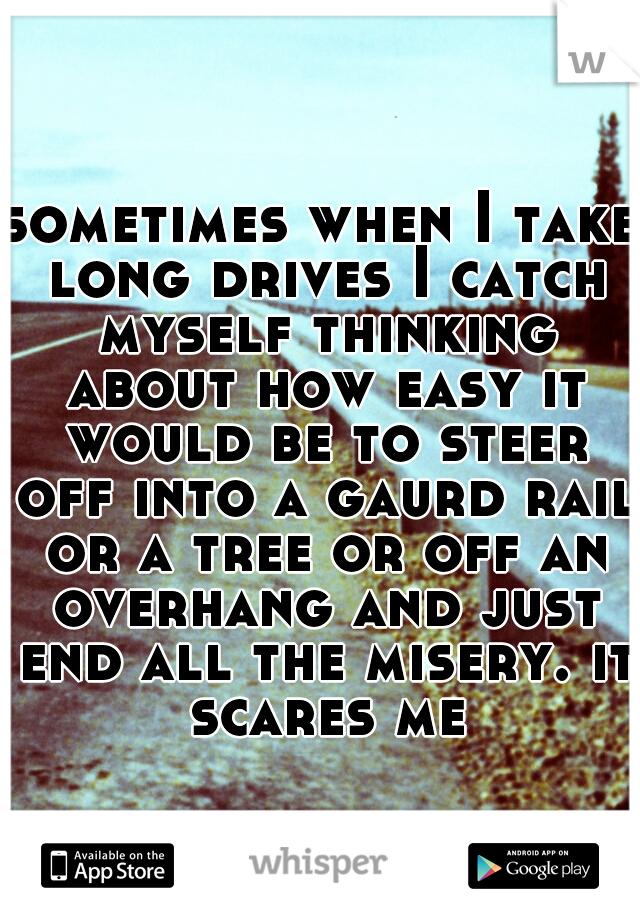 sometimes when I take long drives I catch myself thinking about how easy it would be to steer off into a gaurd rail or a tree or off an overhang and just end all the misery. it scares me