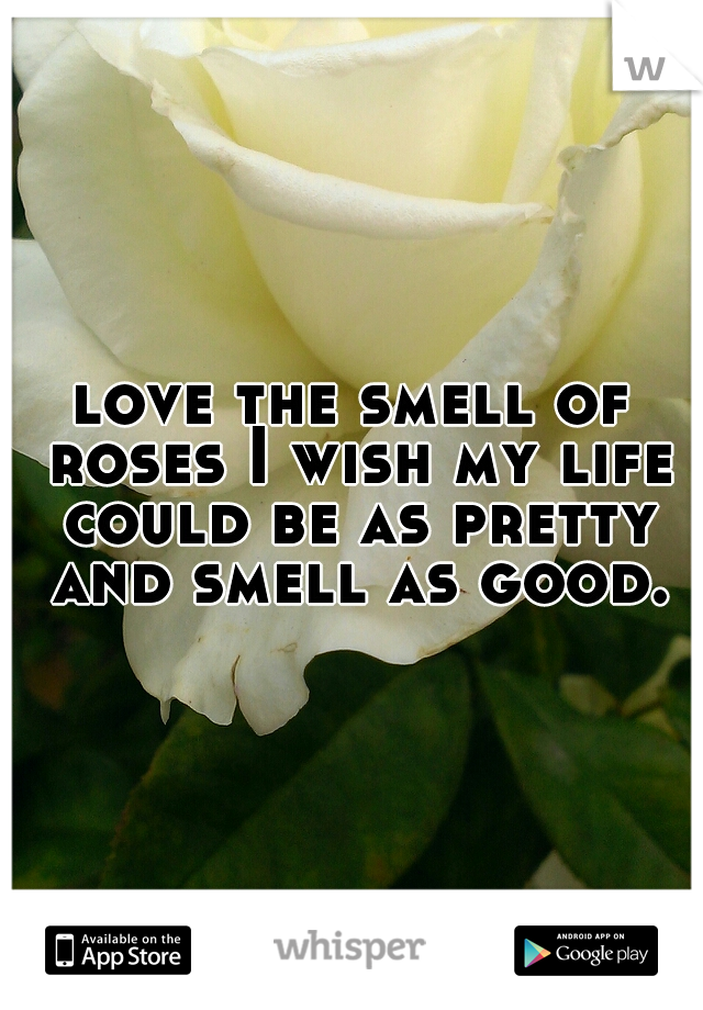 love the smell of roses I wish my life could be as pretty and smell as good.