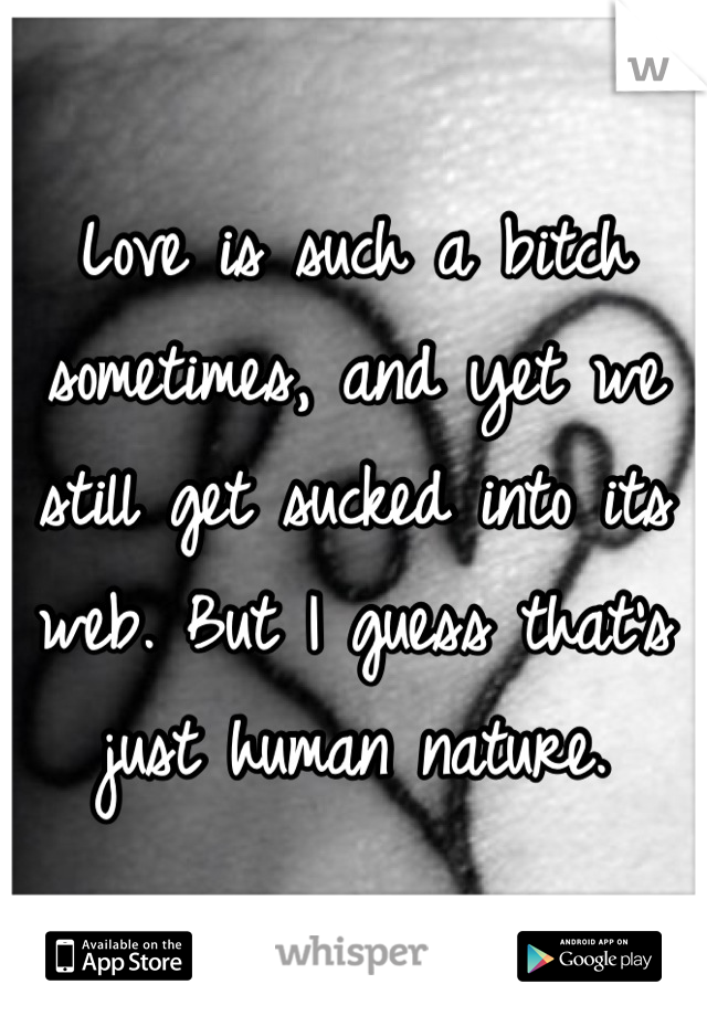 Love is such a bitch sometimes, and yet we still get sucked into its web. But I guess that's just human nature.
