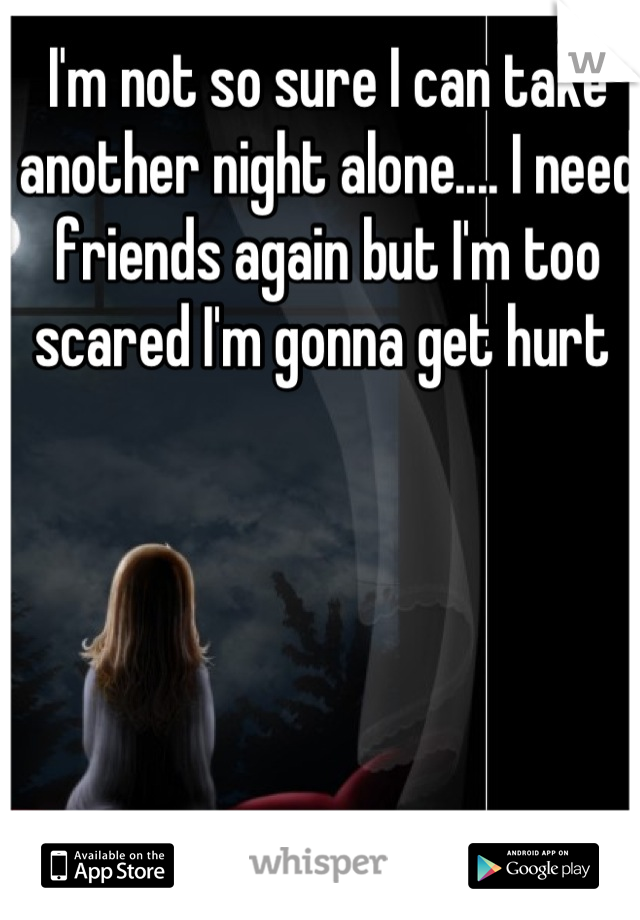 I'm not so sure I can take another night alone.... I need friends again but I'm too scared I'm gonna get hurt