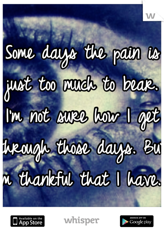 Some days the pain is just too much to bear. I'm not sure how I get through those days. But I'm thankful that I have.