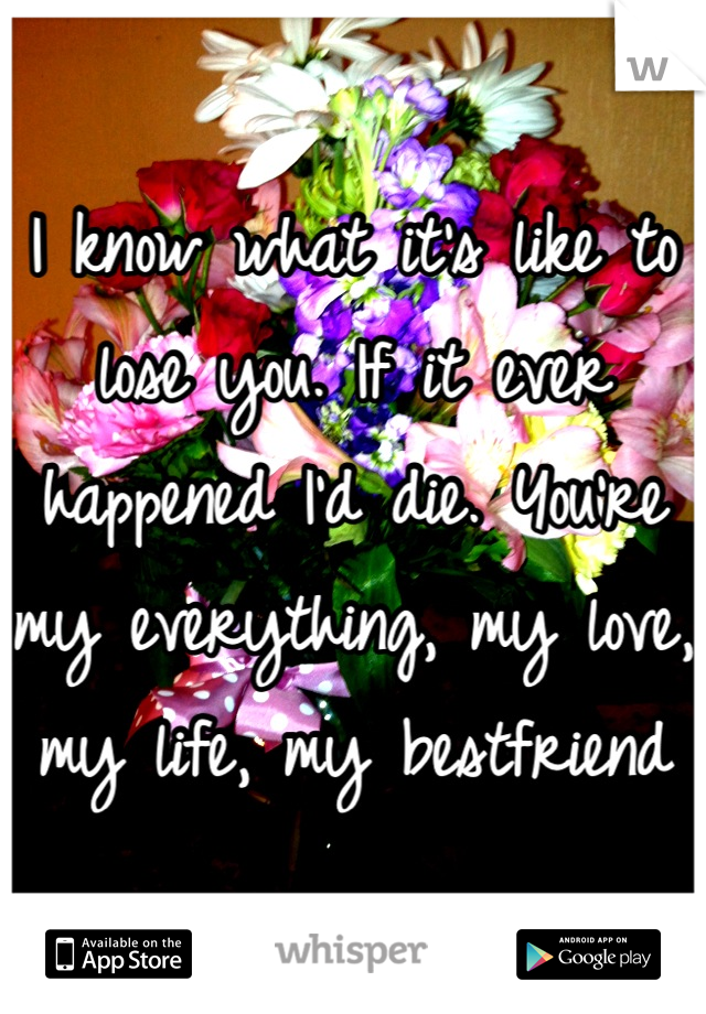 I know what it's like to lose you. If it ever happened I'd die. You're my everything, my love, my life, my bestfriend