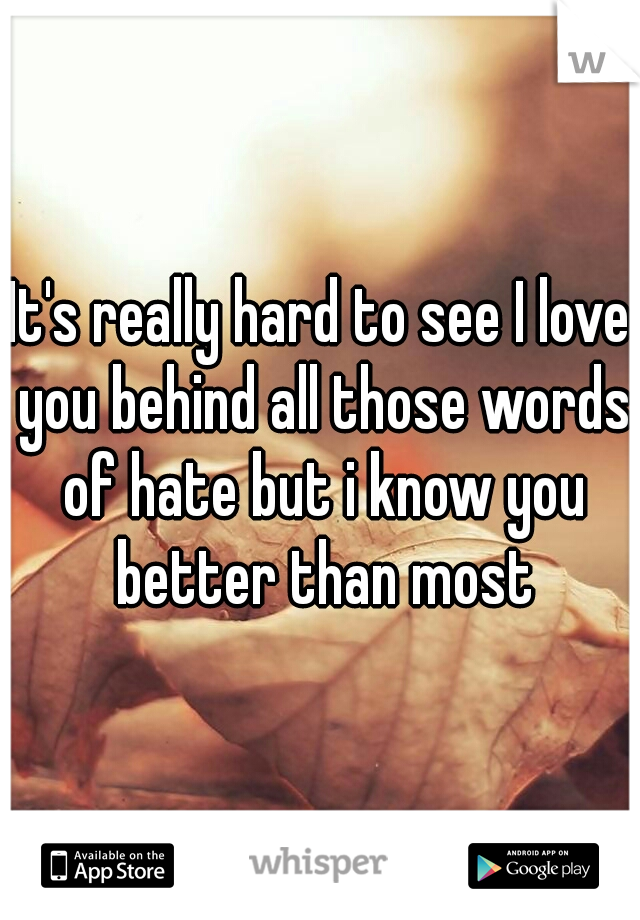 It's really hard to see I love you behind all those words of hate but i know you better than most