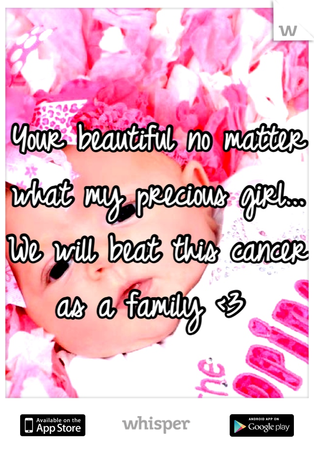 Your beautiful no matter what my precious girl... We will beat this cancer as a family <3