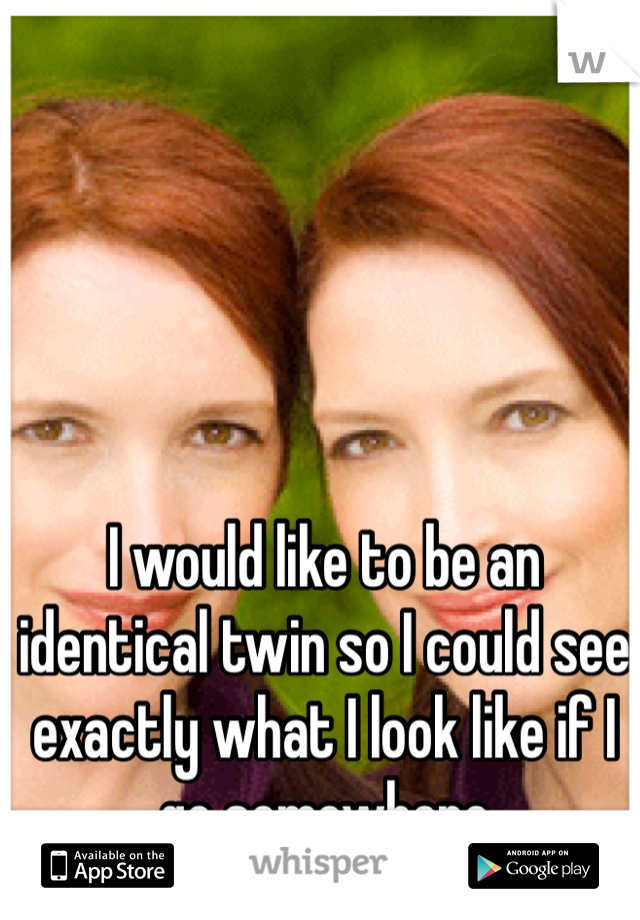 I would like to be an identical twin so I could see exactly what I look like if I go somewhere