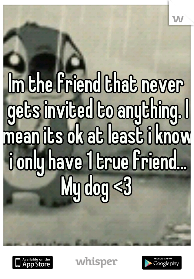 Im the friend that never gets invited to anything. I mean its ok at least i know i only have 1 true friend... My dog <3