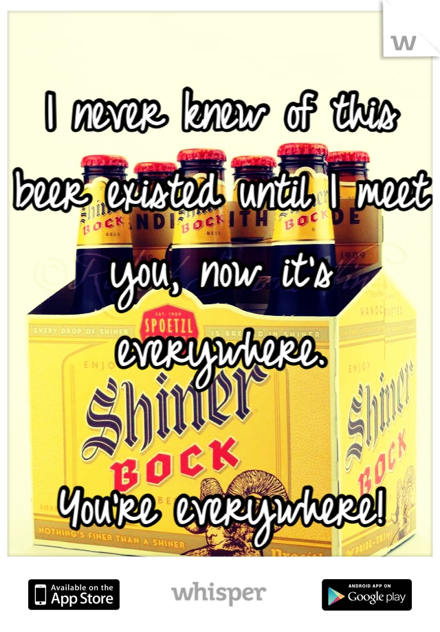 I never knew of this beer existed until I meet you, now it's everywhere.   You're everywhere!