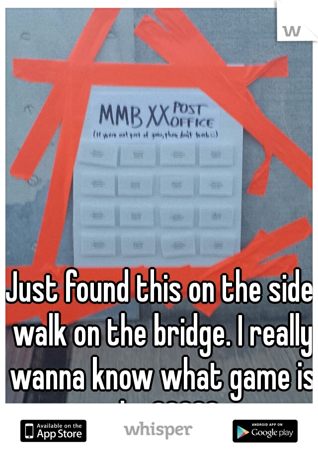 Just found this on the side walk on the bridge. I really wanna know what game is this?????