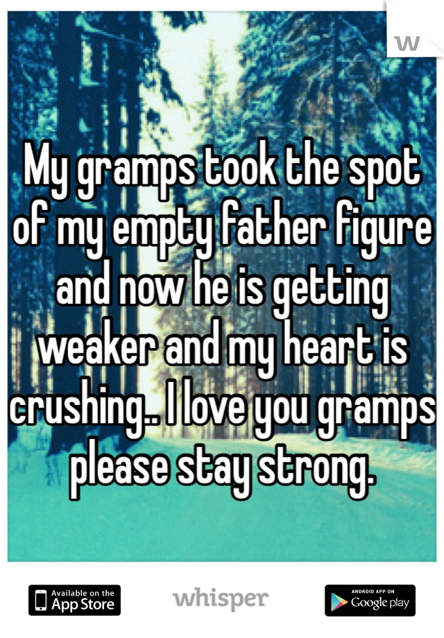 My gramps took the spot of my empty father figure and now he is getting weaker and my heart is crushing.. I love you gramps please stay strong.