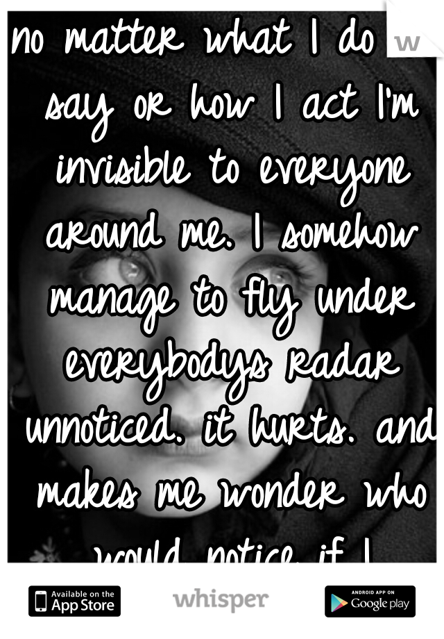 no matter what I do or say or how I act I'm invisible to everyone around me. I somehow manage to fly under everybodys radar unnoticed. it hurts. and makes me wonder who would notice if I disappeared.