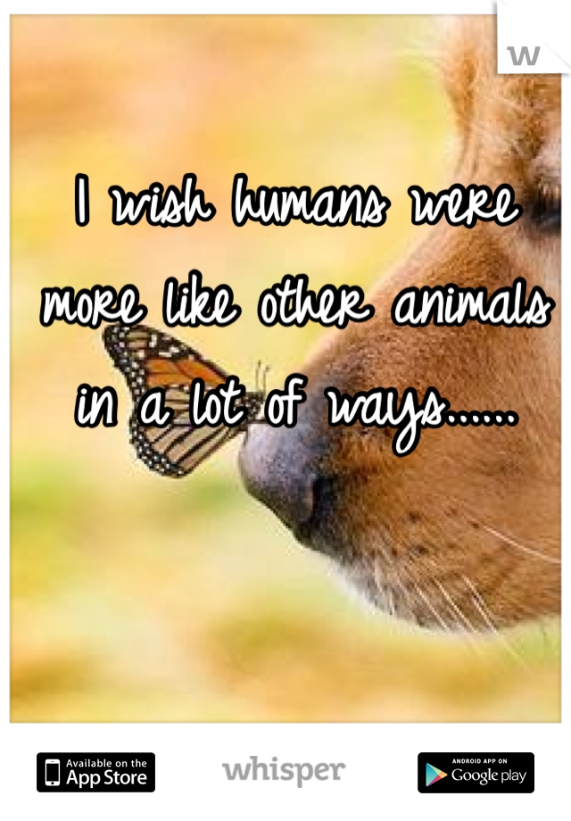 I wish humans were more like other animals in a lot of ways......