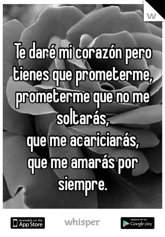 Te daré mi corazón pero tienes que prometerme, prometerme que no me soltarás, que me acariciarás, que me amarás por siempre.