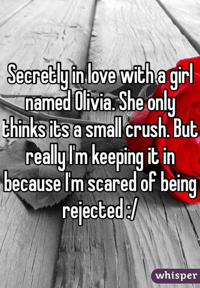 Secretly in love with a girl named Olivia. She only thinks its a small crush. But really I'm keeping it in because I'm scared of being rejected :/