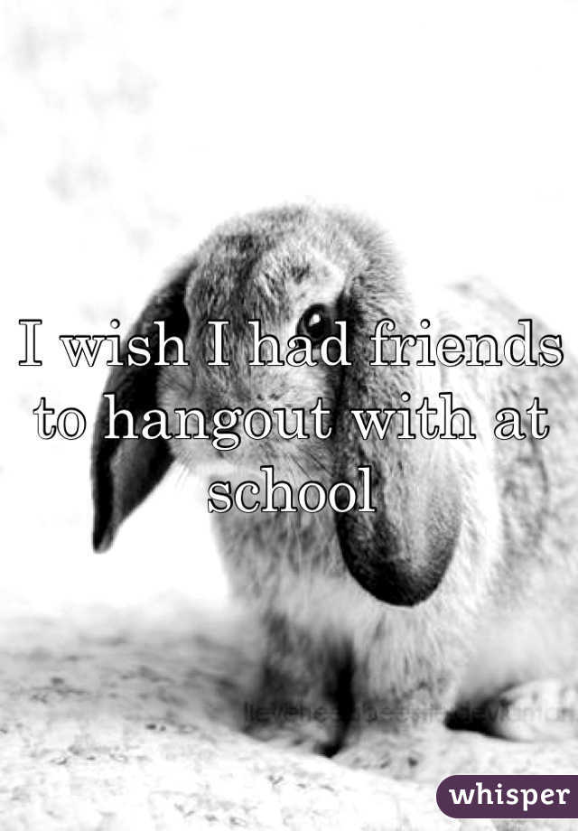 I wish I had friends to hangout with at school
