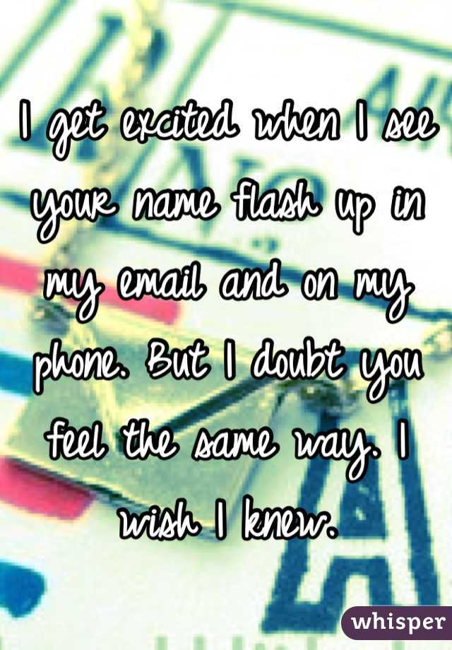 I get excited when I see your name flash up in my email and on my phone. But I doubt you feel the same way. I wish I knew.