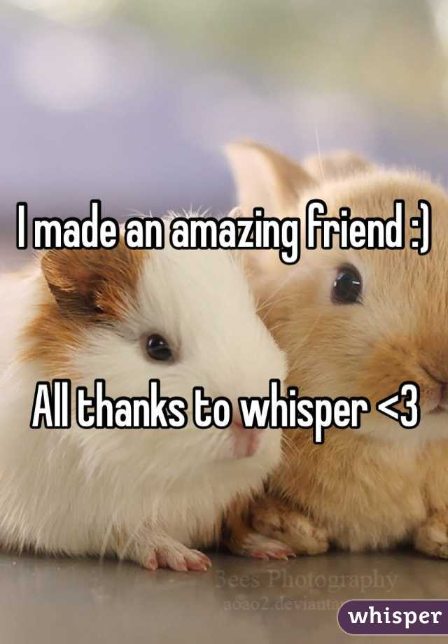 I made an amazing friend :)   All thanks to whisper <3