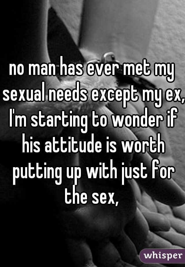 no man has ever met my sexual needs except my ex, I'm starting to wonder if his attitude is worth putting up with just for the sex,