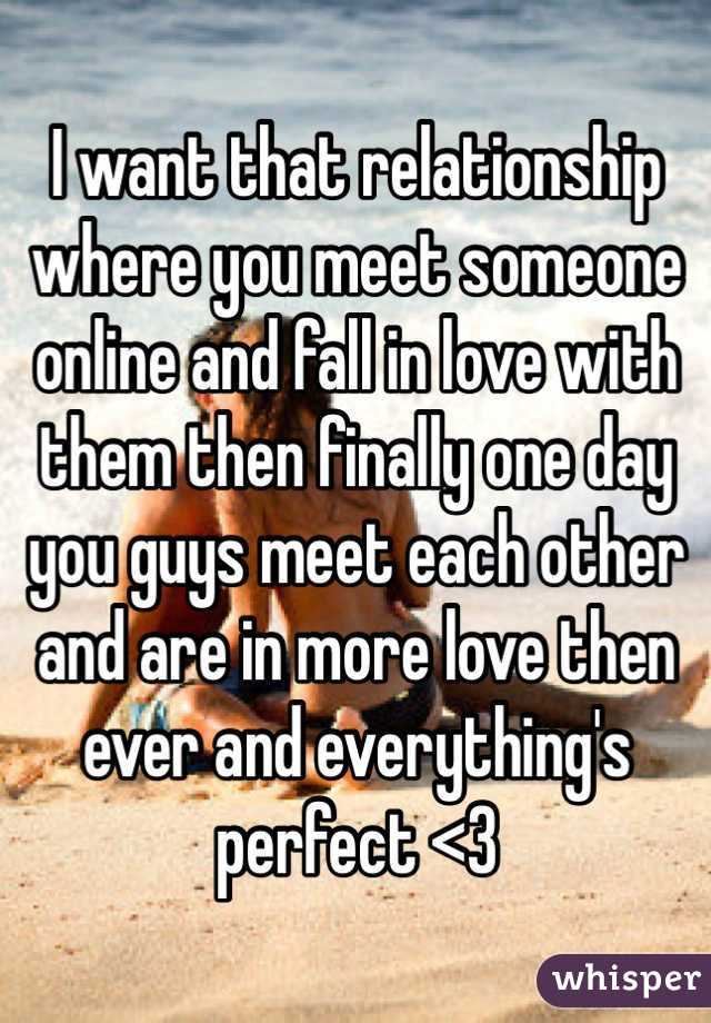 I want that relationship where you meet someone online and fall in love with them then finally one day you guys meet each other and are in more love then ever and everything's perfect <3