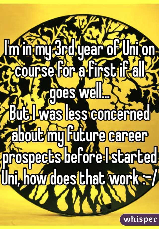 I'm in my 3rd year of Uni on course for a first if all goes well... But I was less concerned about my future career prospects before I started Uni, how does that work :-/