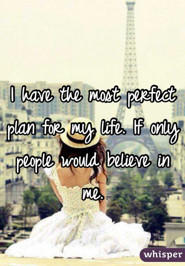 I have the most perfect plan for my life. If only people would believe in me.
