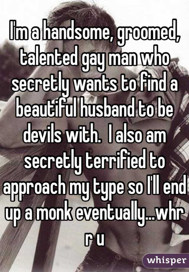 I'm a handsome, groomed, talented gay man who secretly wants to find a beautiful husband to be devils with.  I also am secretly terrified to approach my type so I'll end up a monk eventually...whr r u