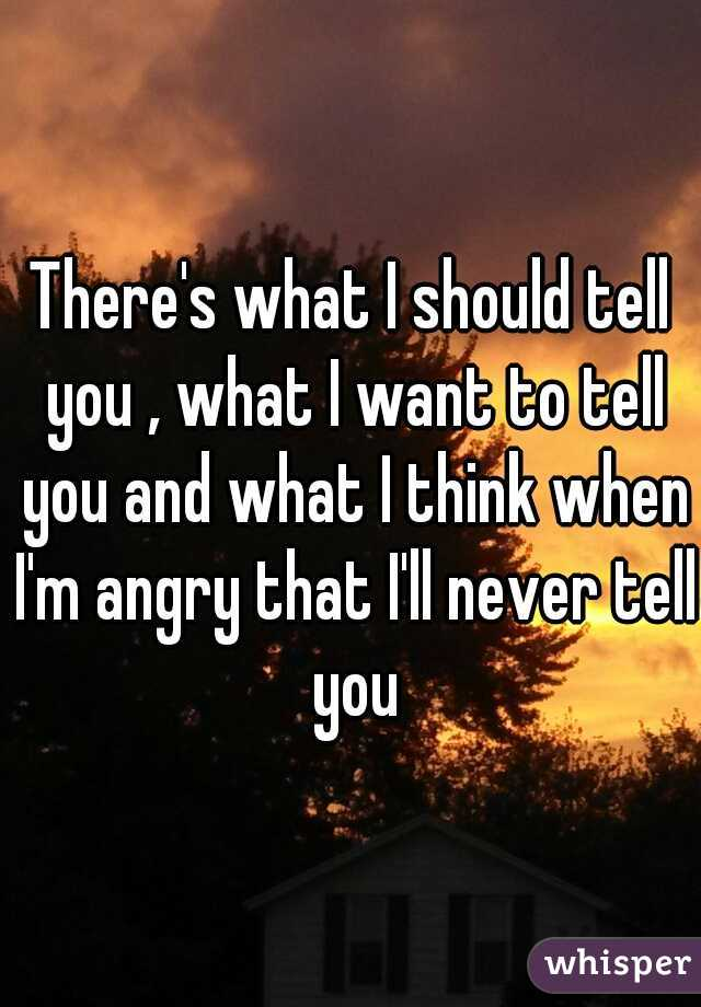 There's what I should tell you , what I want to tell you and what I think when I'm angry that I'll never tell you