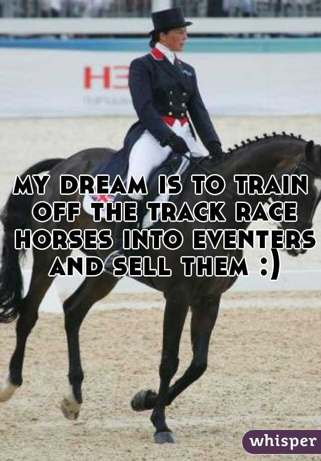 my dream is to train off the track race horses into eventers and sell them :)