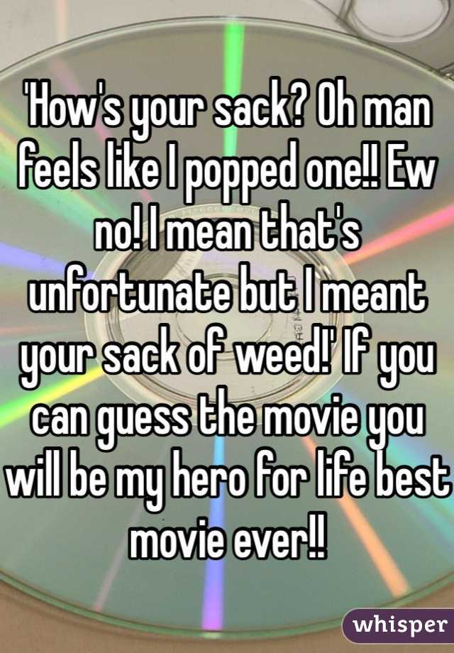 'How's your sack? Oh man feels like I popped one!! Ew no! I mean that's unfortunate but I meant your sack of weed!' If you can guess the movie you will be my hero for life best movie ever!!