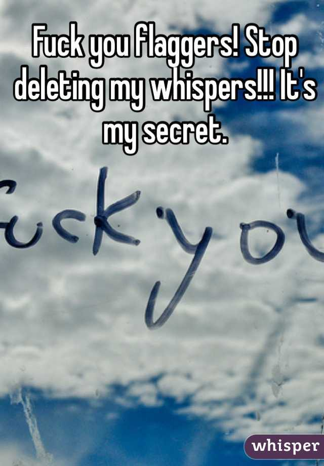 Fuck you flaggers! Stop deleting my whispers!!! It's my secret.