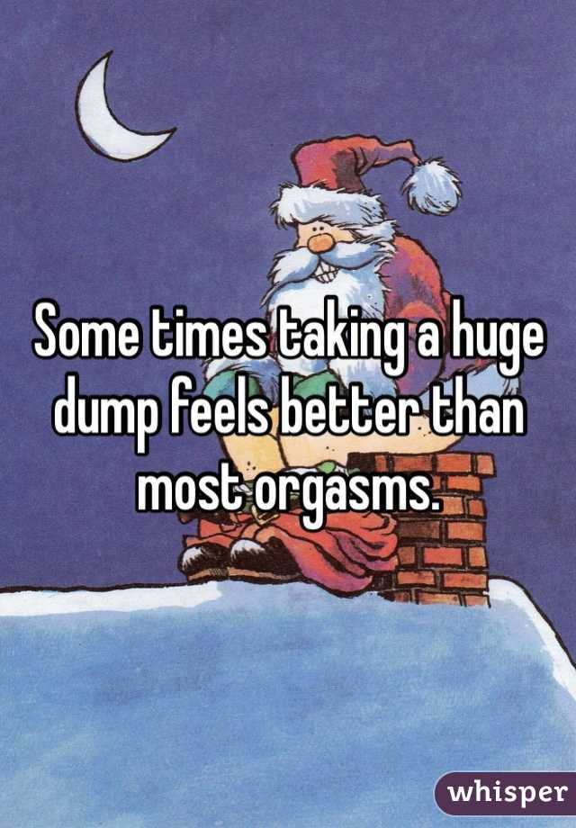 Some times taking a huge dump feels better than most orgasms.