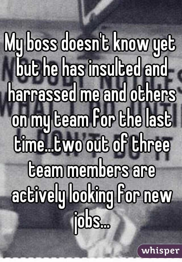 My boss doesn't know yet but he has insulted and harrassed me and others on my team for the last time...two out of three team members are actively looking for new jobs...